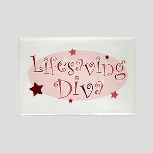 """Lifesaving Diva"" [red] Rectangle Magnet"